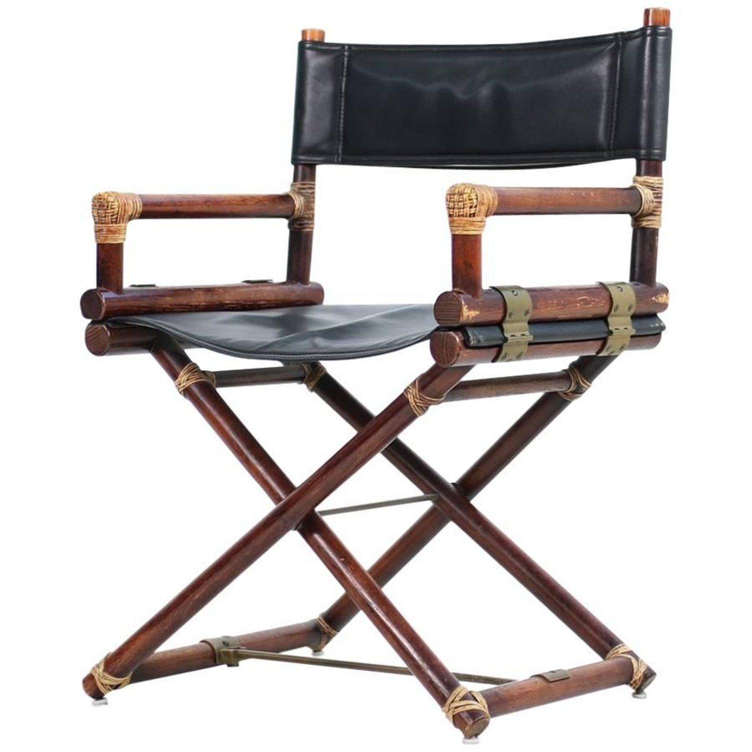 Excellent 1950S Mcguire Bamboo Brass Leather Folding Directors X Pabps2019 Chair Design Images Pabps2019Com