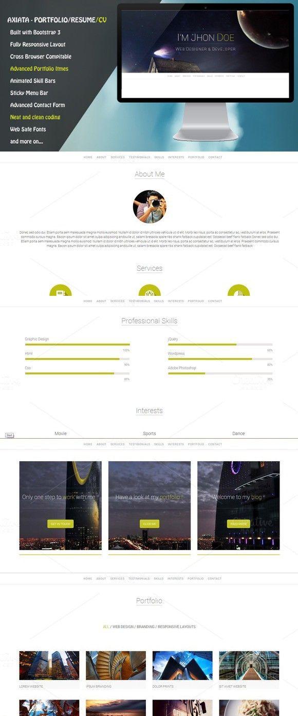 Axiata - Responsive Portfolio/Resume. Bootstrap Templates. $4.00 ...