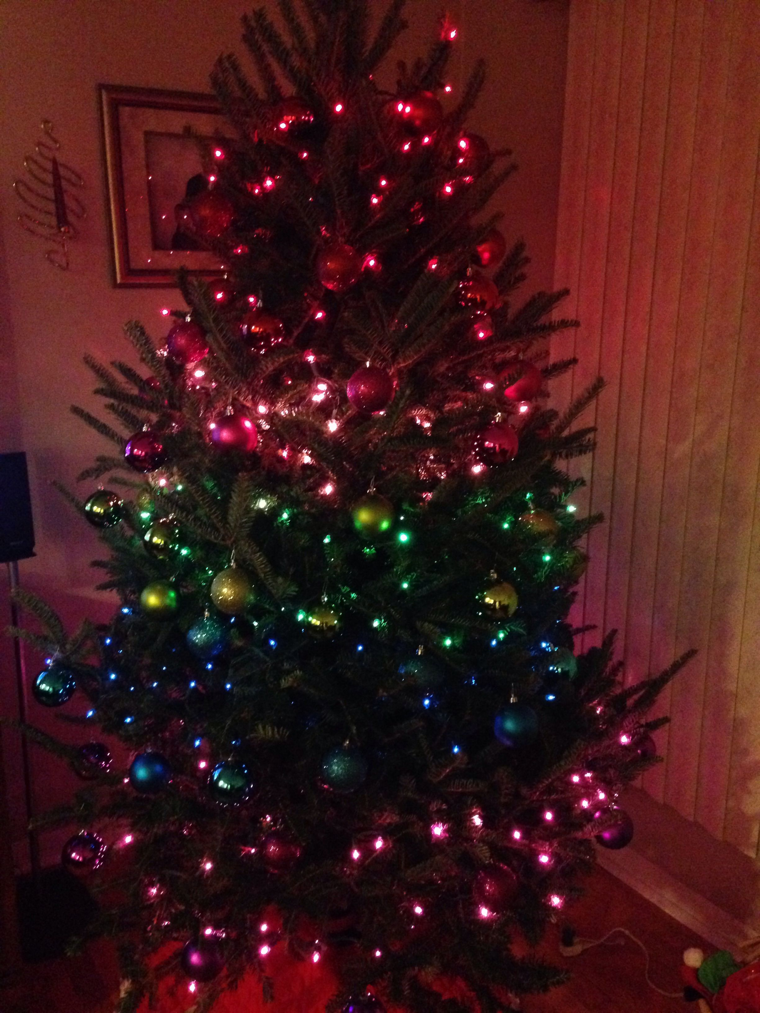 Rainbow Colored Christmas Tree Using Target Ornaments And Lights