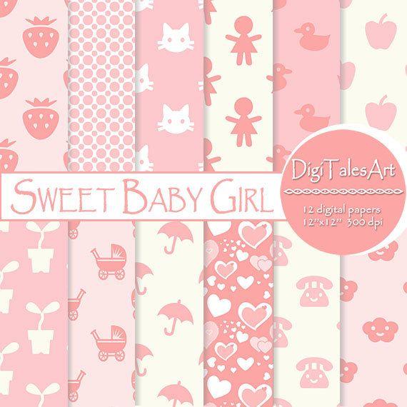 Sweet Baby Girl Digital Paper by DigiTalesArt.