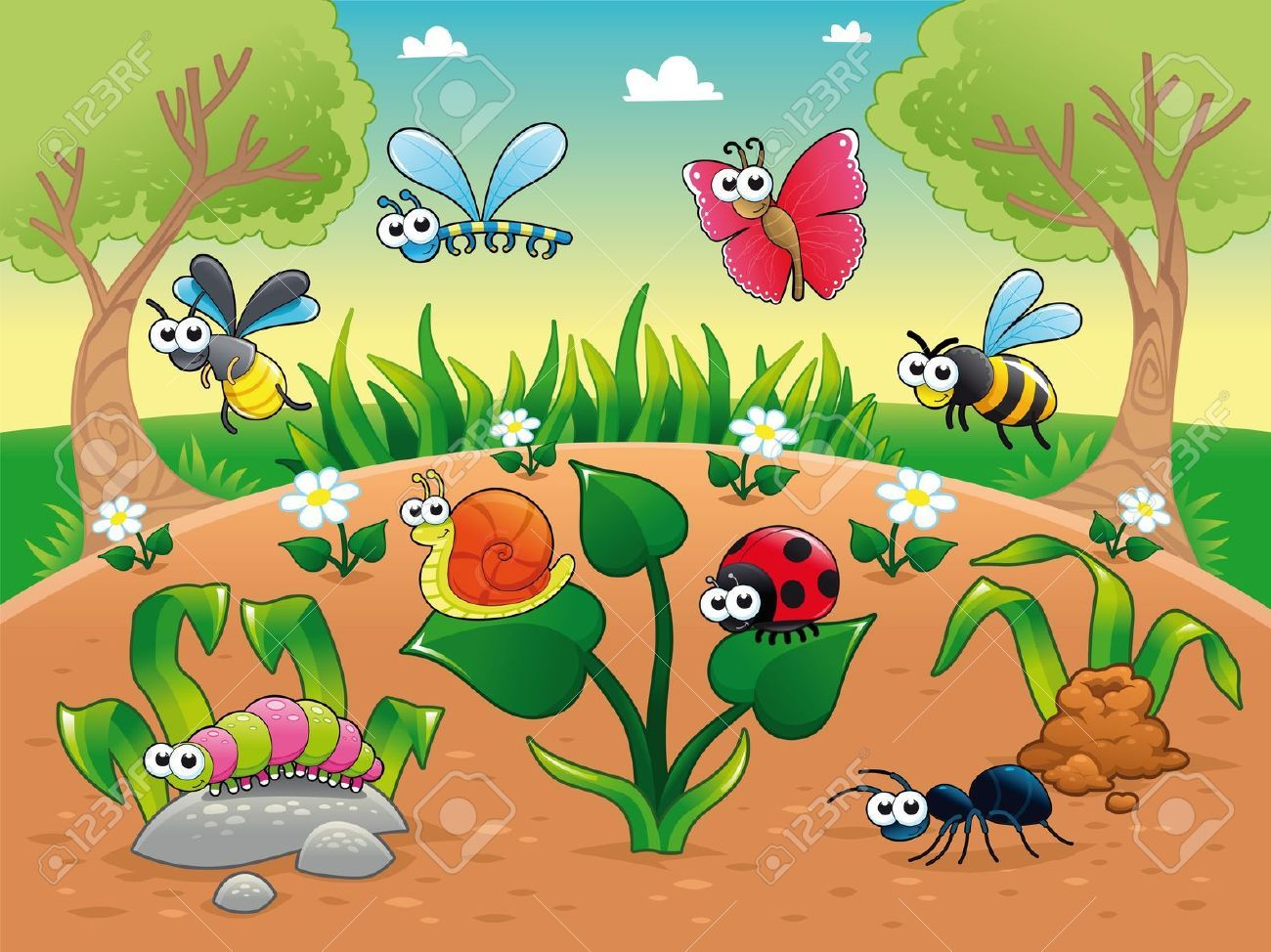 Summer beach scene vector stock vector colourbox - Bugs And A Snail With Background Funny Cartoon And Vector Illustration Royalty