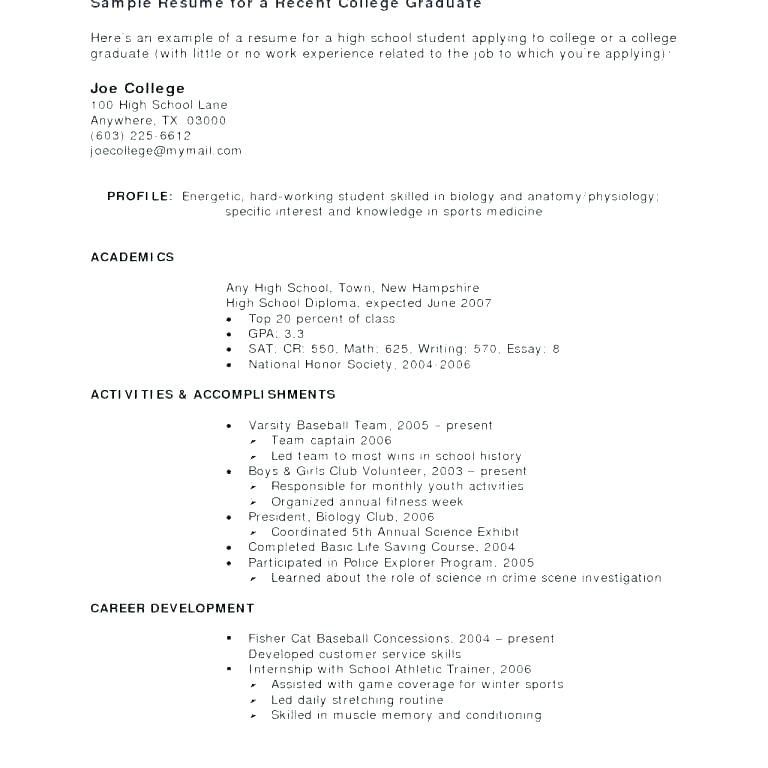 Resume Examples For College Students With Little Work Work
