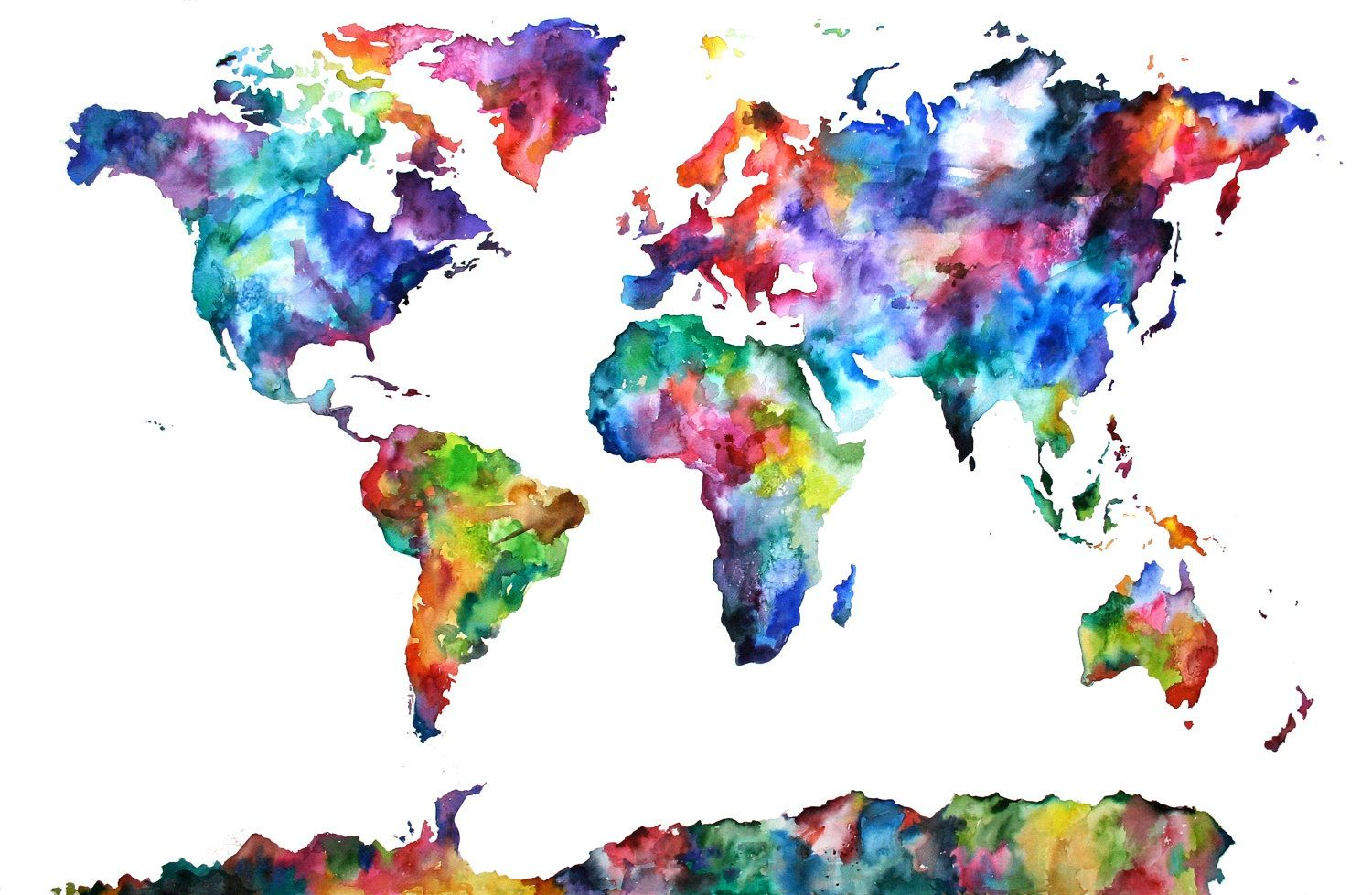 Earth world map watercolor art pinterest watercolor for World map wall print