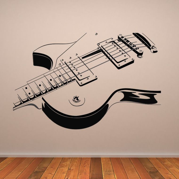 Awesome Electric Guitar Wall Art Decals Wall Stickers Transfers