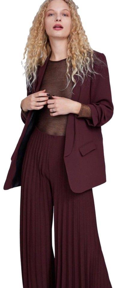Photo of ZARA | Burgundy Pleated Details Pants Size 0 (XS, 25)