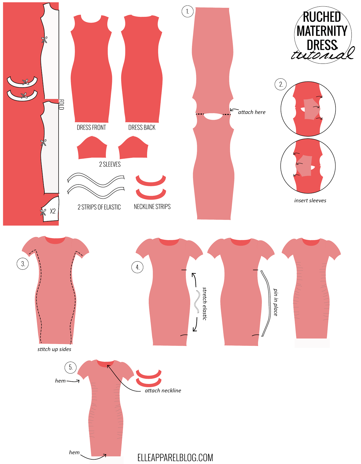 FOURTH OF JULY RUCHED MATERNITY DRESS TUTORIAL | Clothing Tutorials ...