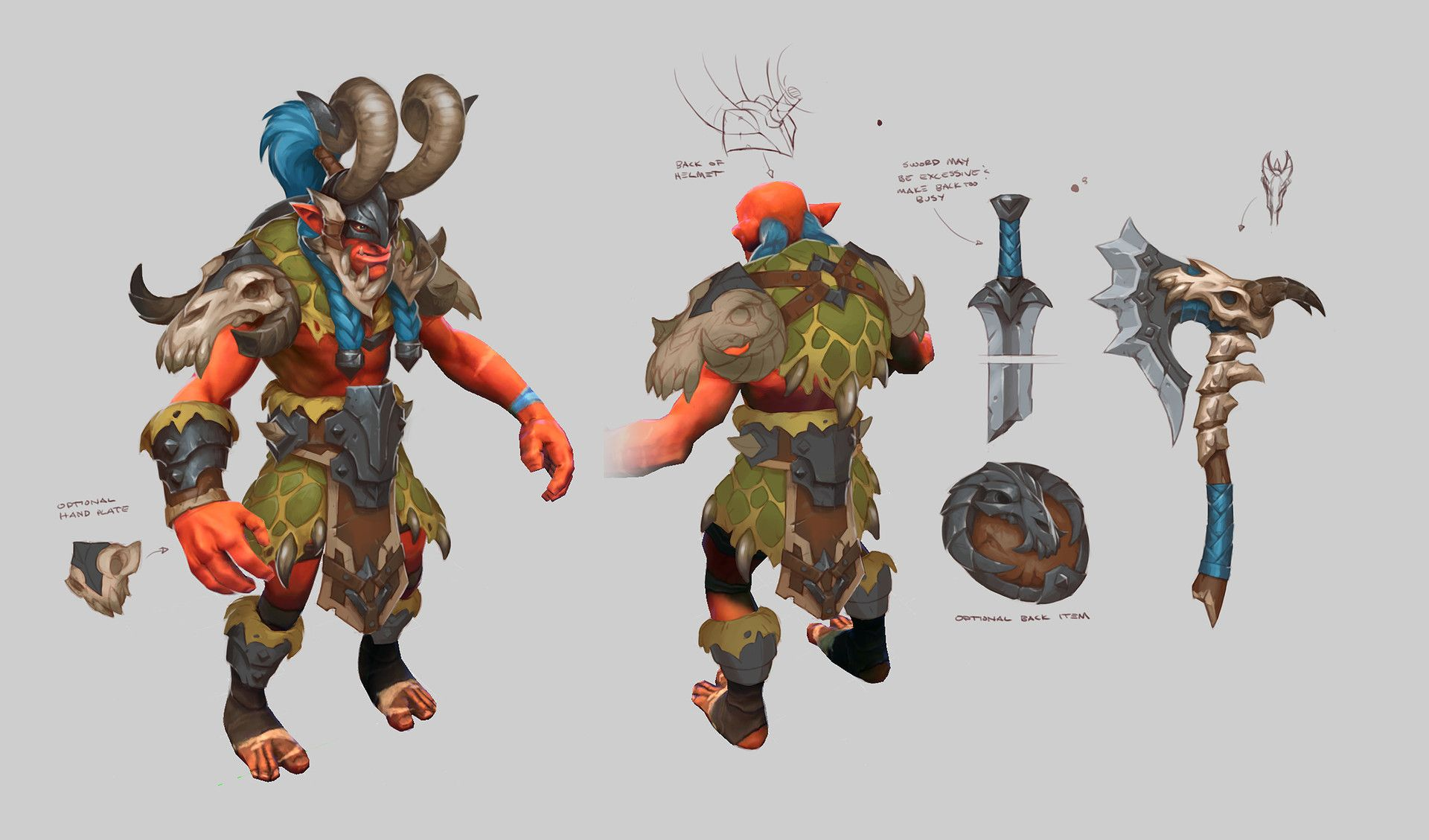 artstation wyvern bone battle armor troll warlord set kyle