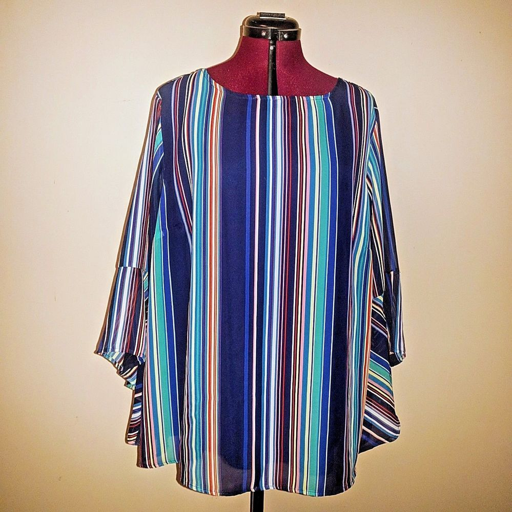 b008a3f800e76 Cato Est. 1946 Womens Top Blouse Striped Bell Sleeve Keyhole Back Size 18  20W  Cato  Blouse