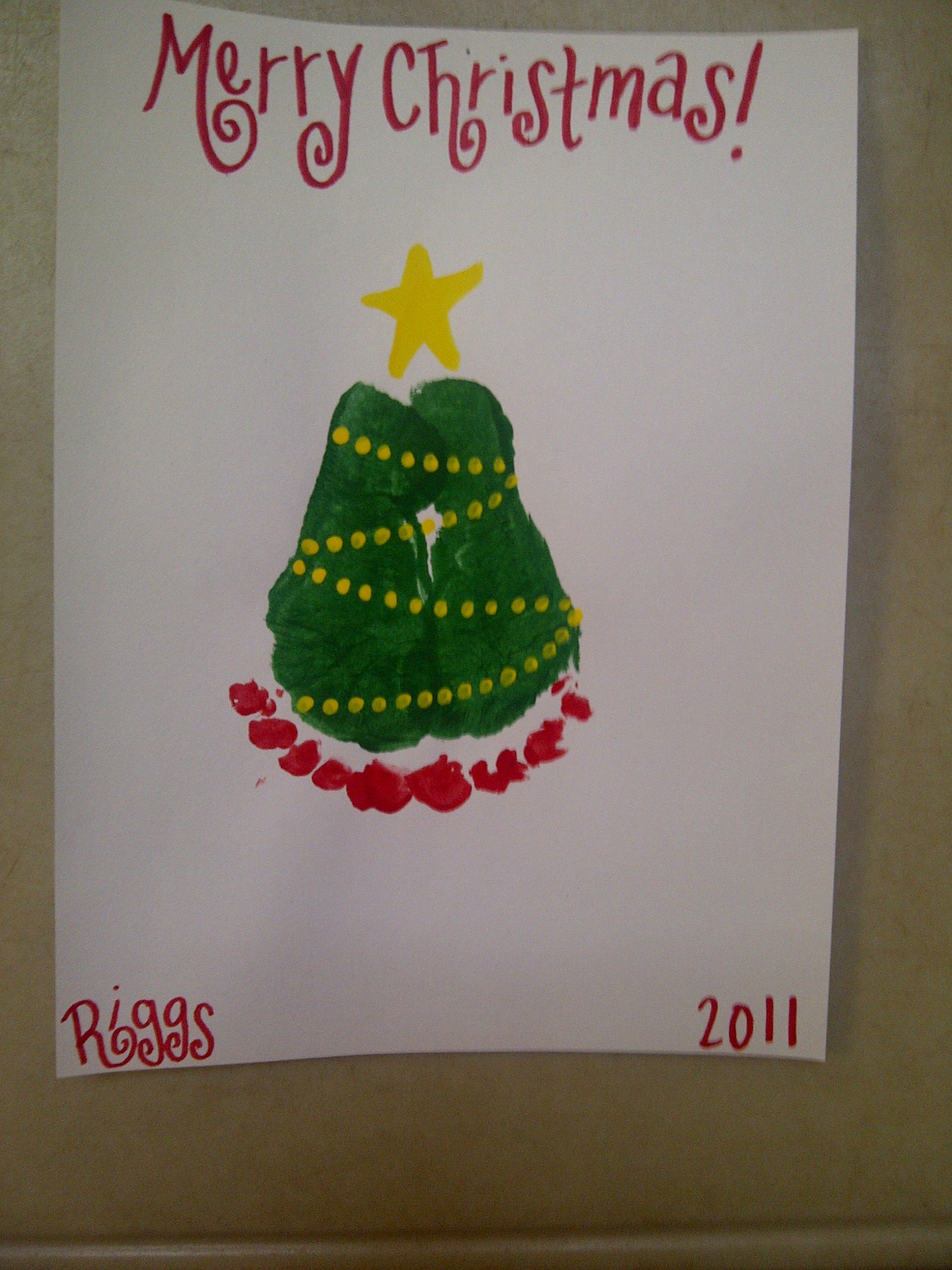 Footprint Christmas Tree Holiday Crafts Preschool Crafts Kids Christmas