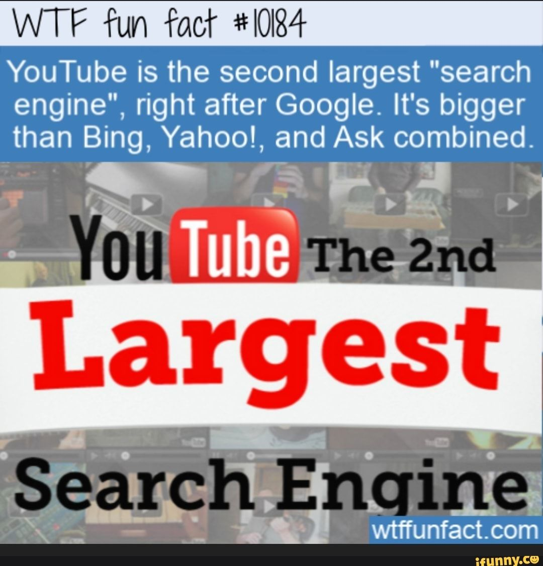 Wtf Fun Wºaof 4 I0i84 Youtube Is The Second Largest Search Engine Right After Google It S Bigger Than Bing Yahoo And Ask Combined Ifunny Youtube Search Engine Wtf