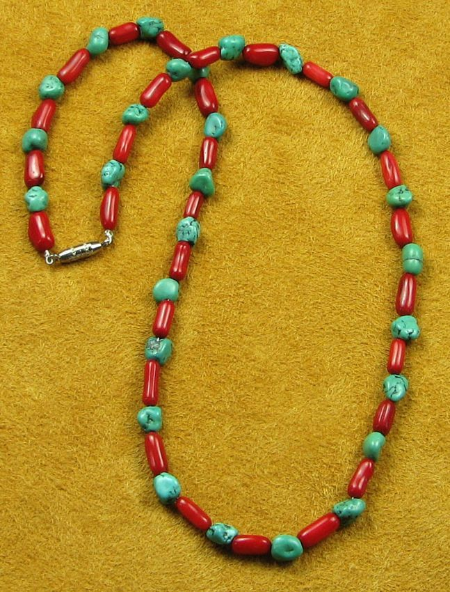 Turquoise and Red Coral Necklace.