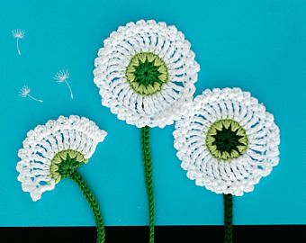 Dandelion Flower Applique Crochet Pattern Bloom Collection By