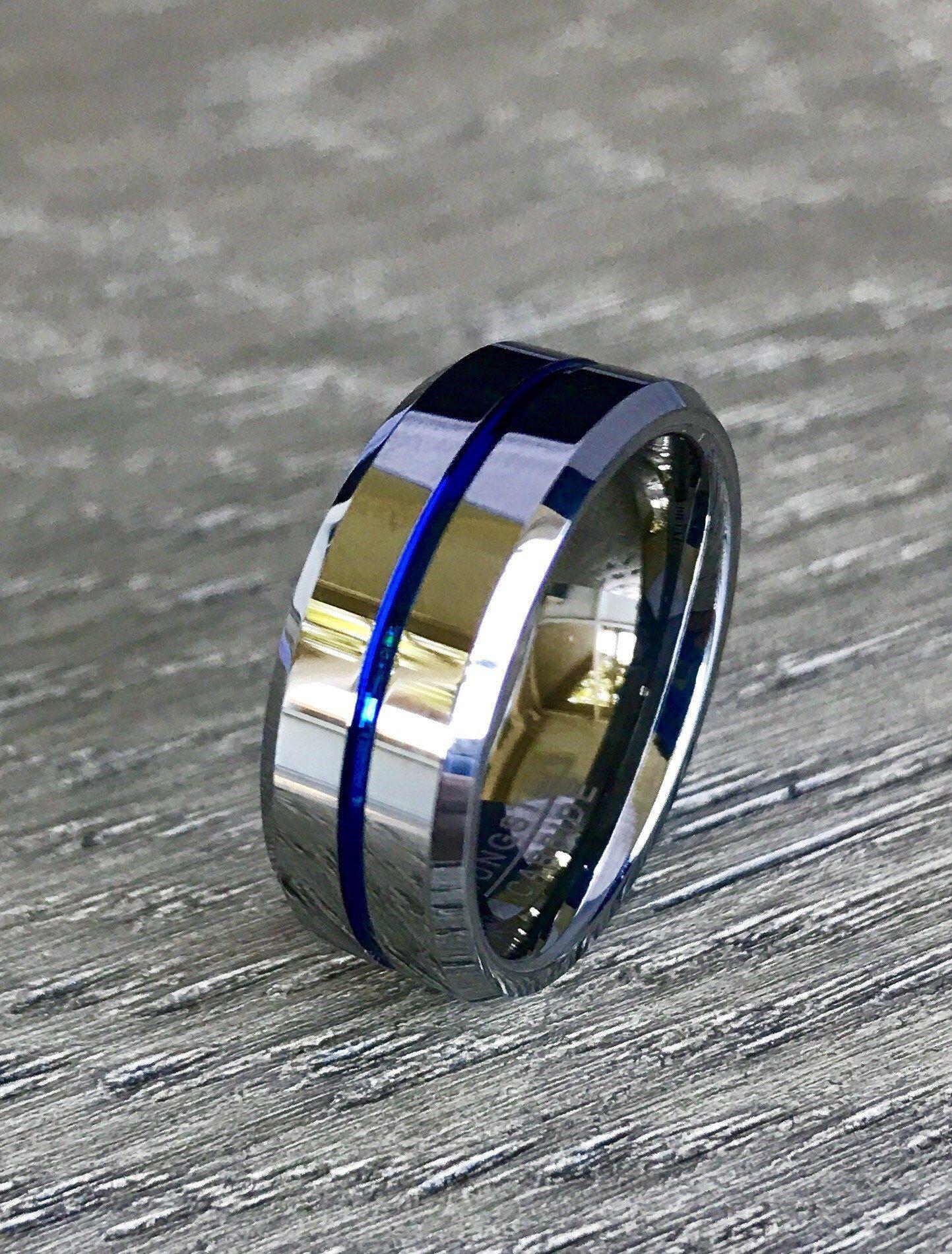 8mm Silver Tungsten Carbide Wedding Band with Blue Line