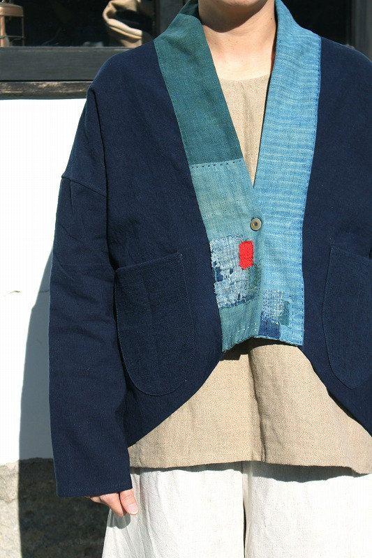 Antique indigo linen jacket with Japanese boro/Japanese style jacket/French  linen/cotton/indigo dyed/sashiko/hand stitched/handmade/258
