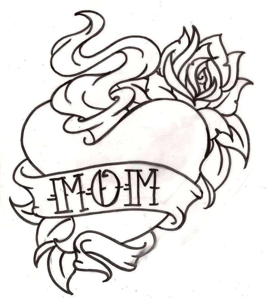 Line Drawing Name Designs : American traditional mom sacred heart tattoo with rose
