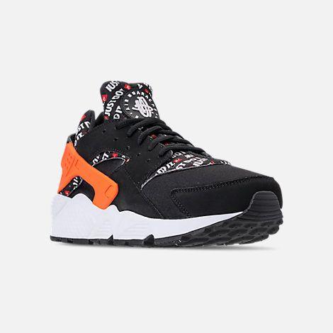 Three Quarter view of Men s Nike Air Huarache Run JDI Running Shoes in Black Total  Orange White Cool Grey 4a2fbe7463b