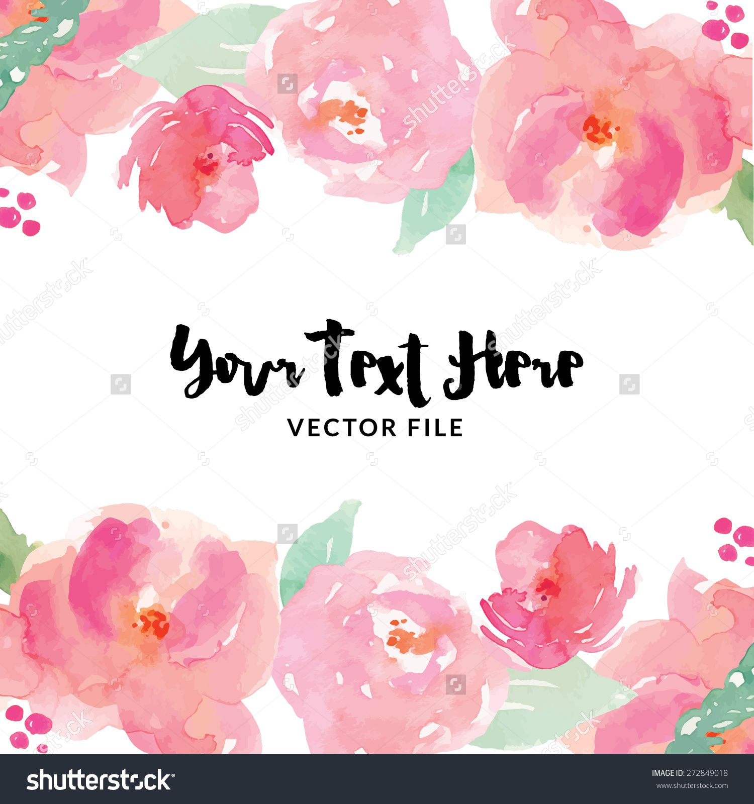 watercolor flower vector border preview save to a