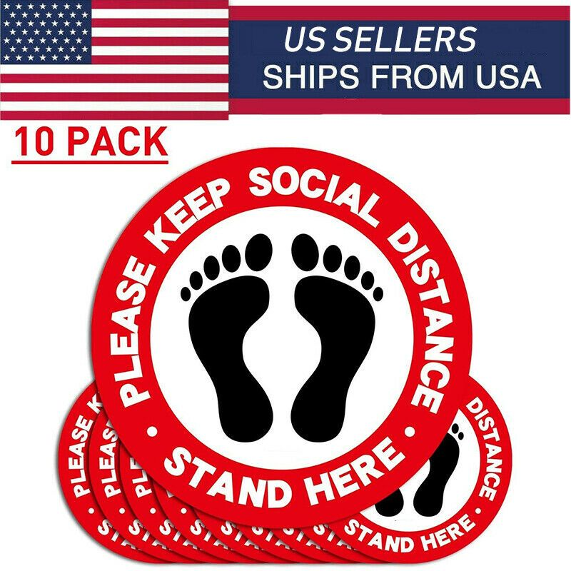 10X Floor Decal Social Distancing Vinyl Ground Sticker