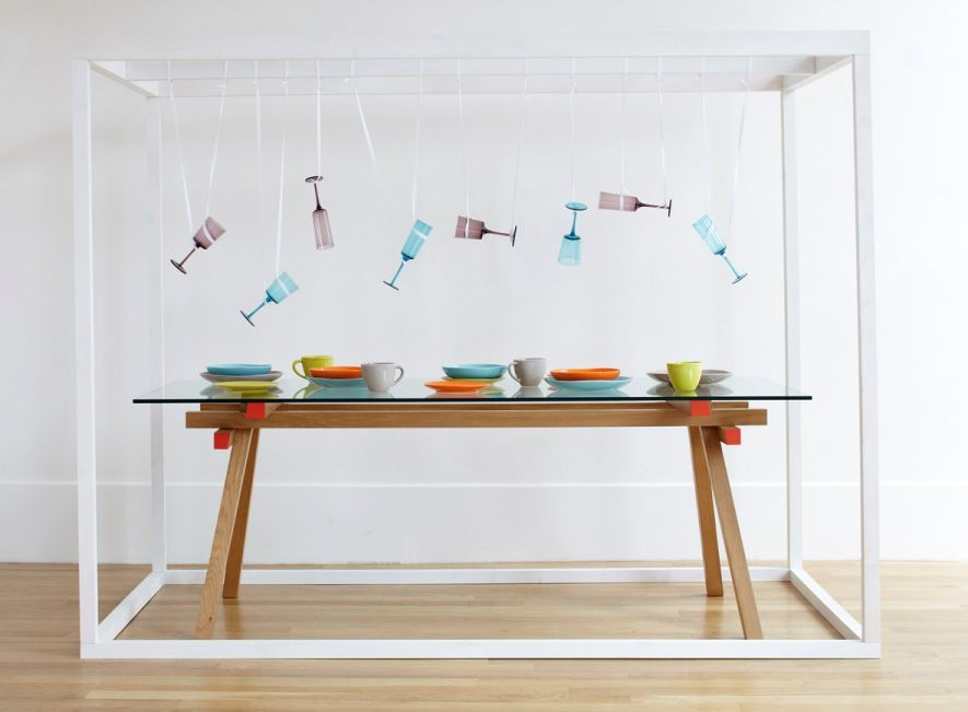 Hitch Dining Table Base Teamed With A Lagon Glass Top Habitat