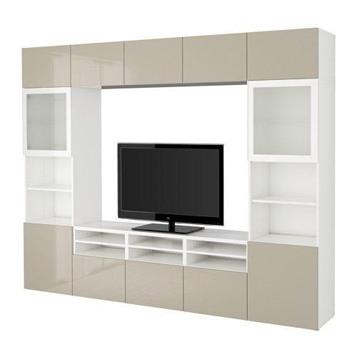 BESTÅ TV storage combination/glass doors - white/Selsviken high gloss/beige frosted glass, drawer runner, push-open - IKEA