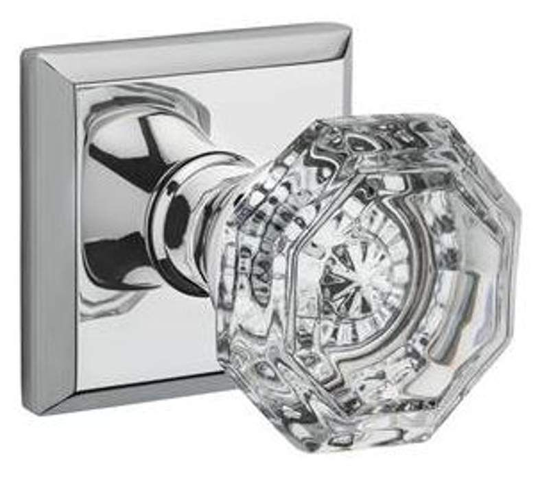 Baldwin PV.CRY.TSR Crystal Privacy Door Knob Set With Traditional Square  Trim Fr