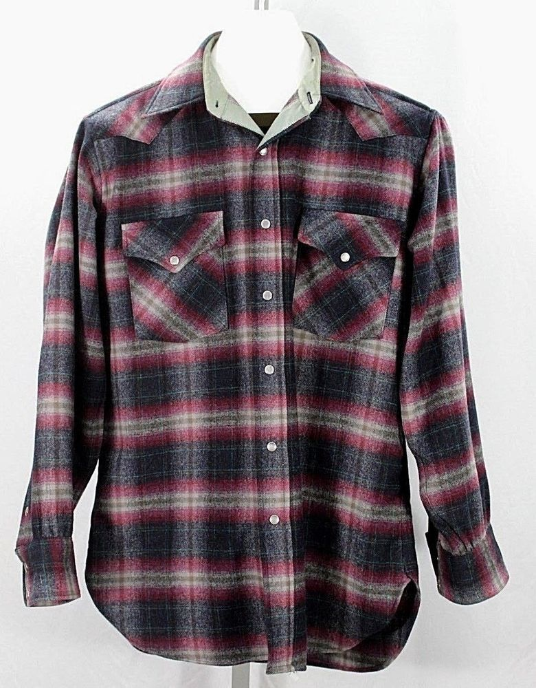 b6f6ee3c Details about PENDLETON HIGH GRADE Western WEAR Pearl Snap Plaid ...