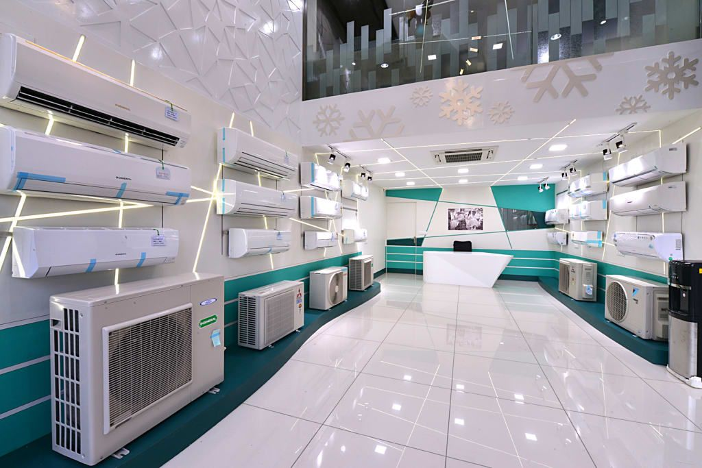 An air conditioning showroom, view from entrance modern