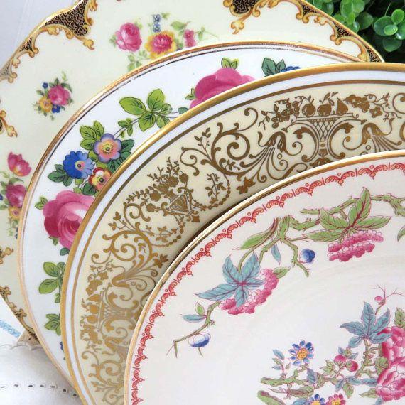 Set of 4 Vintage Mismatched 10  Fine China Dinner Plates Pink Green Ivory Floral & Set of 4 Vintage Mismatched 10