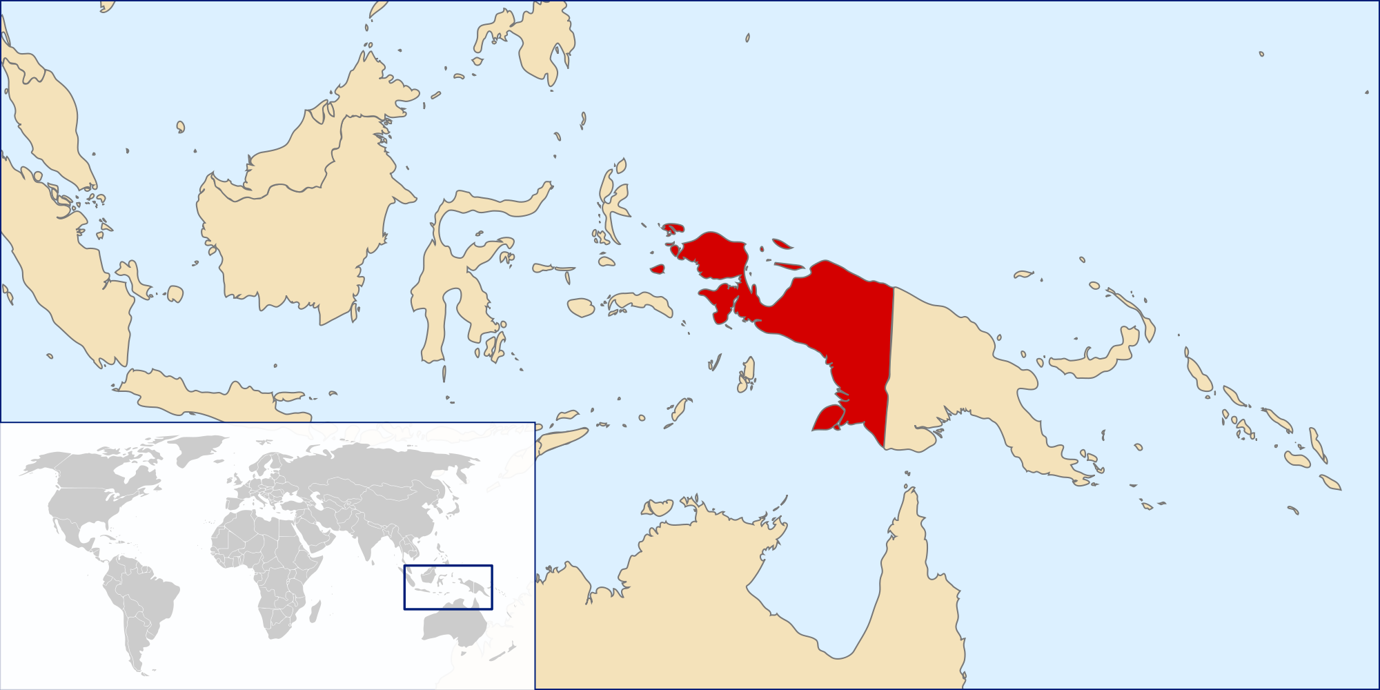 ImageMap Location of West Papua on New Guinea Island north of