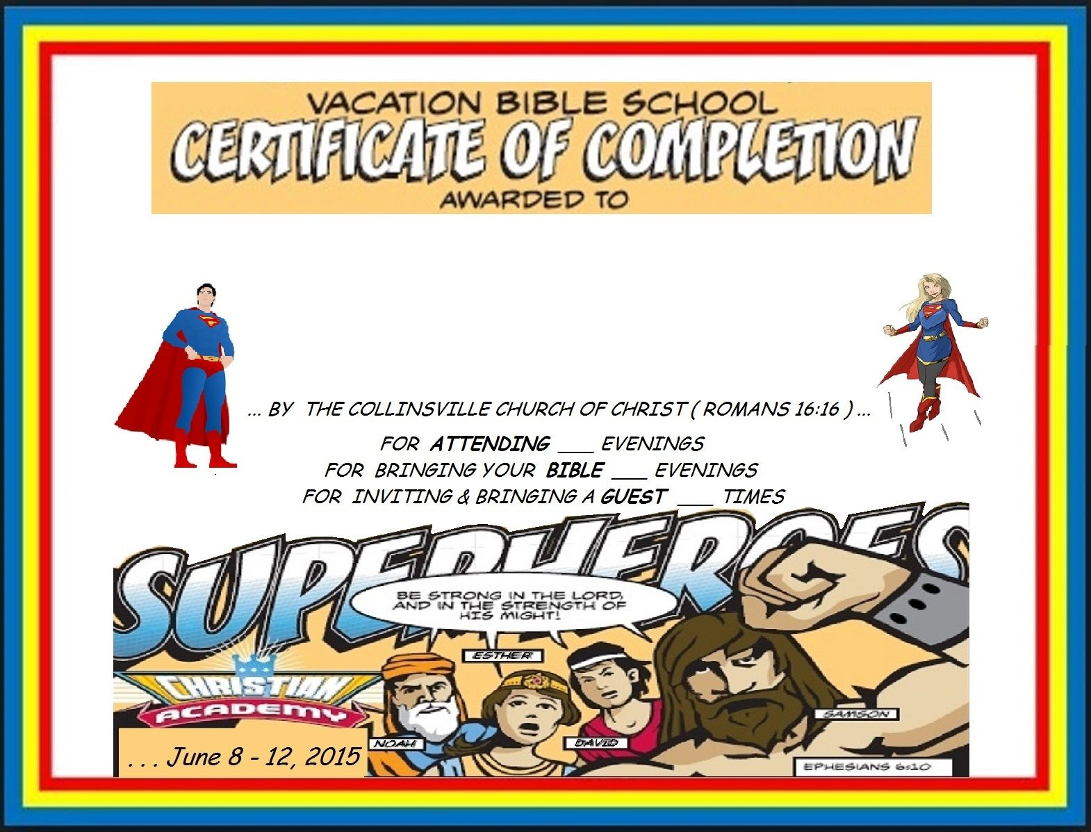 Vbs Certificate Superhero Red Capes