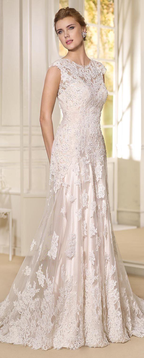 2a6e354cba9e Cap sleeve blush lace Wedding Dress by Fara Sposa 2017 Bridal Collection