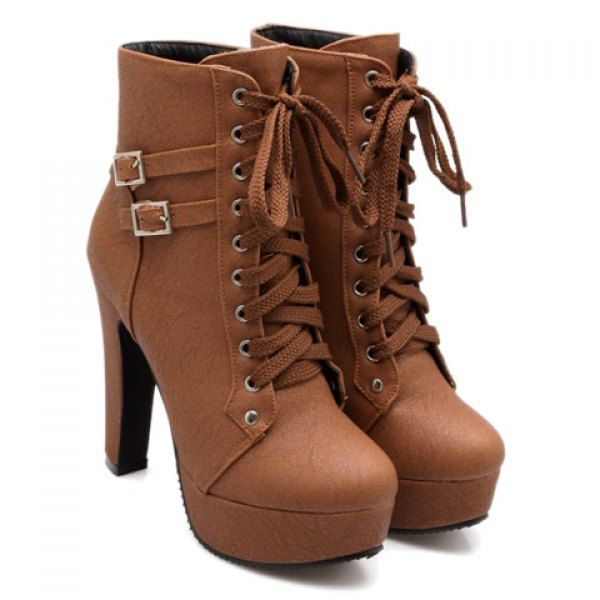 $28.69 Concise Buckles and Pure Color Design Women's High Heel Boots