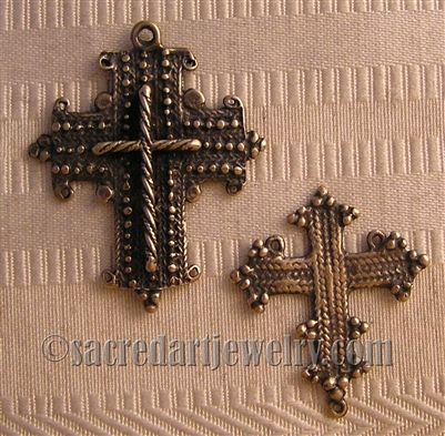 Coptic Crucifix & Center Rosary Parts Set - Sterling Silver .925 or Bronze #rosaryjewelry