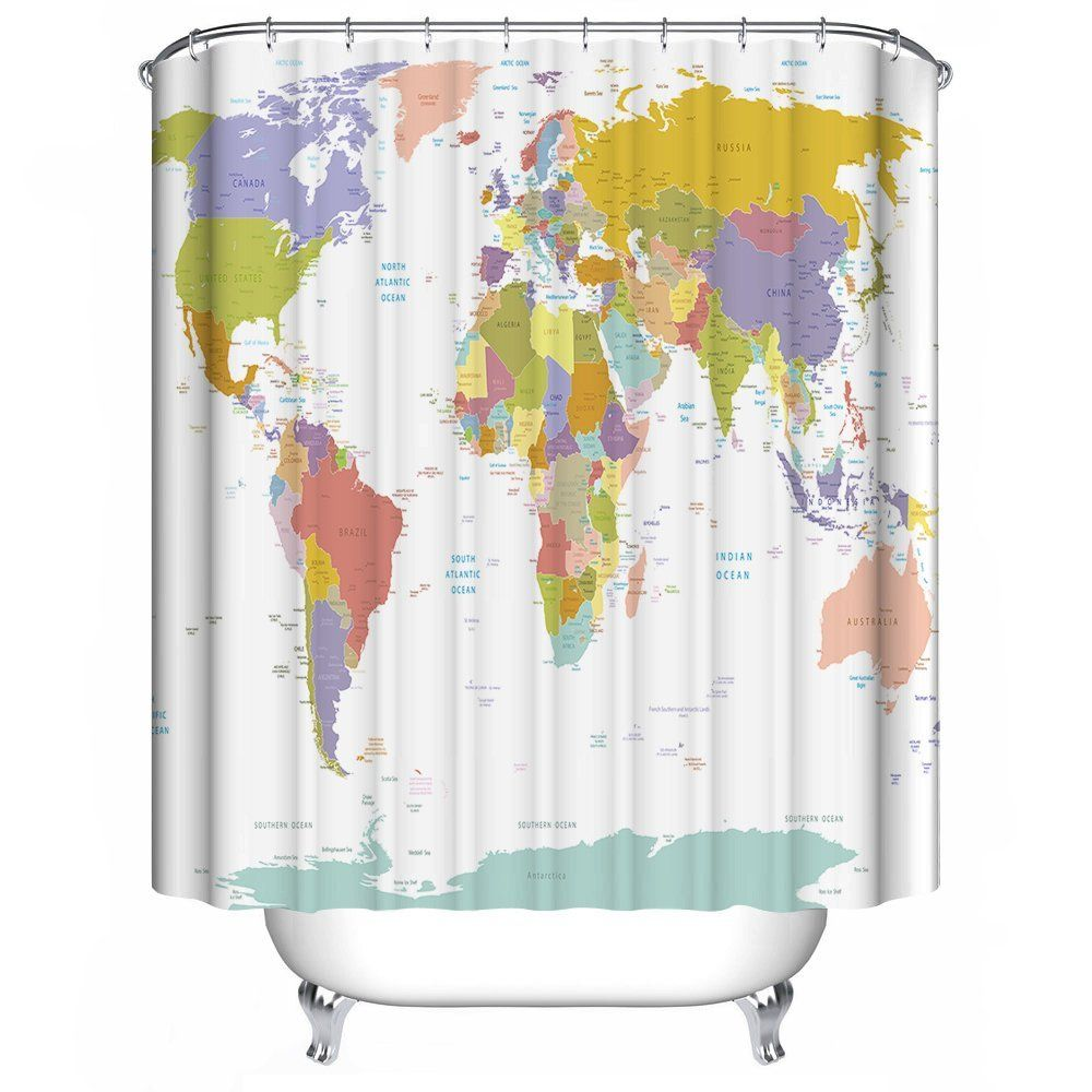 Amazon Com Dimaka Mildew Resistant Repllent Fabric Shower Curtain 71 W X 71 L World Map Of Citis Fabric Shower Curtains Rustic Shower Curtains Kids Curtains