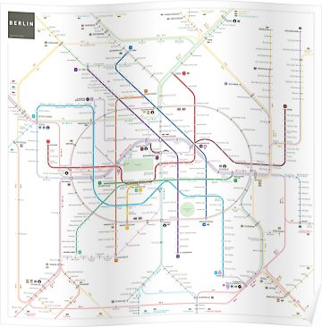 Berlin Subway Map Poster.Berlin U Bahn S Bahn Map Poster In 2019 Products Map Map Wall
