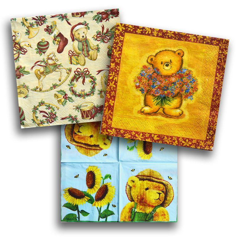 2 x Decoupage Paper Napkins  Bear  Serviette  Scrapbooking  Paper Craft