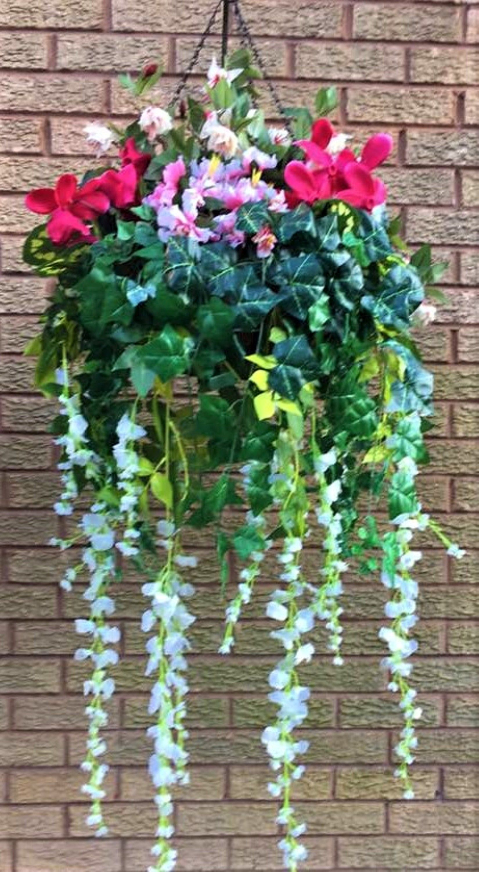 Artificial Hanging Basket Very Large In Pink White And Green