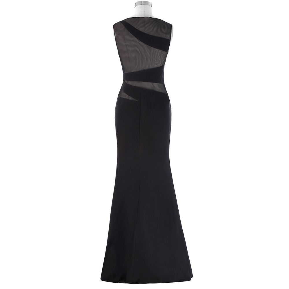 Elegant black slit lace see through bodycon long evening dress