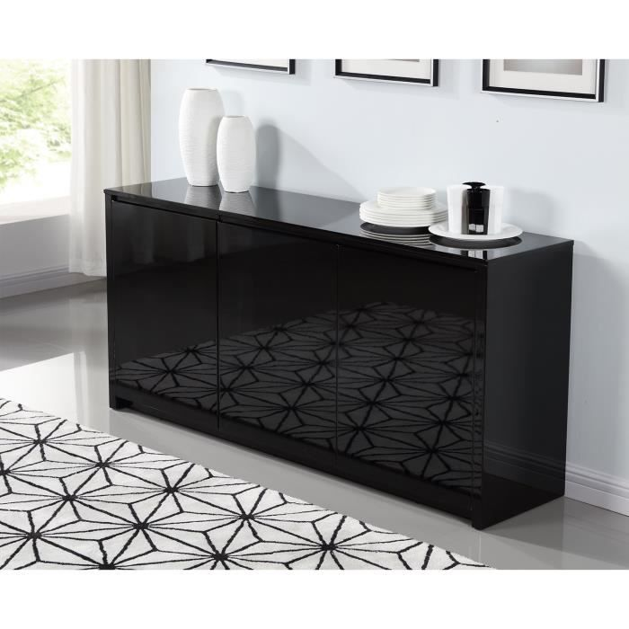 Polaris Buffet 160cm Laque Noir Brillant Buffet Contemporain Meuble Laque Noir Mobilier De Salon