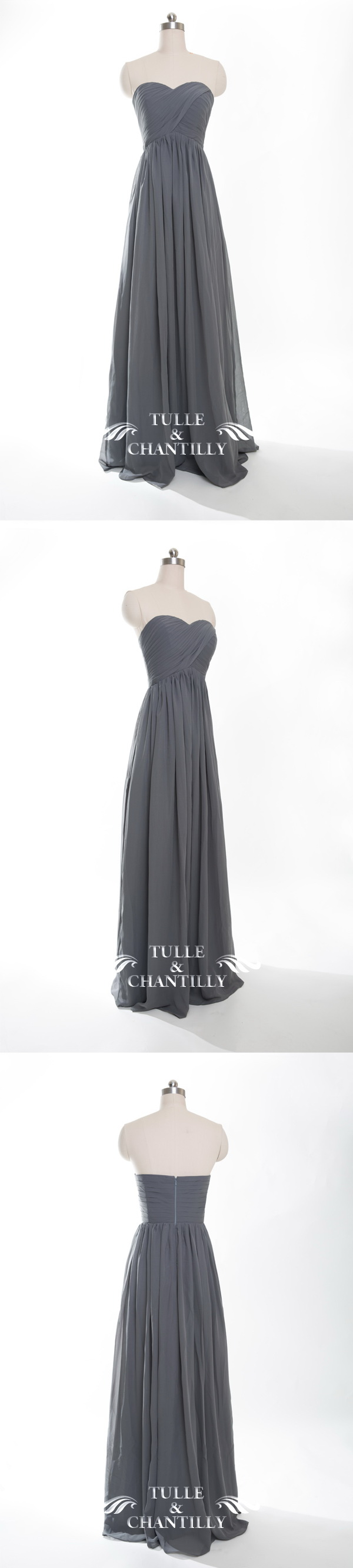 Full length sweetheart chiffon bridesmaid dress tbqp268 charcoal long chiffon charcoal grey bridesmaid dresses 2016 ombrellifo Image collections