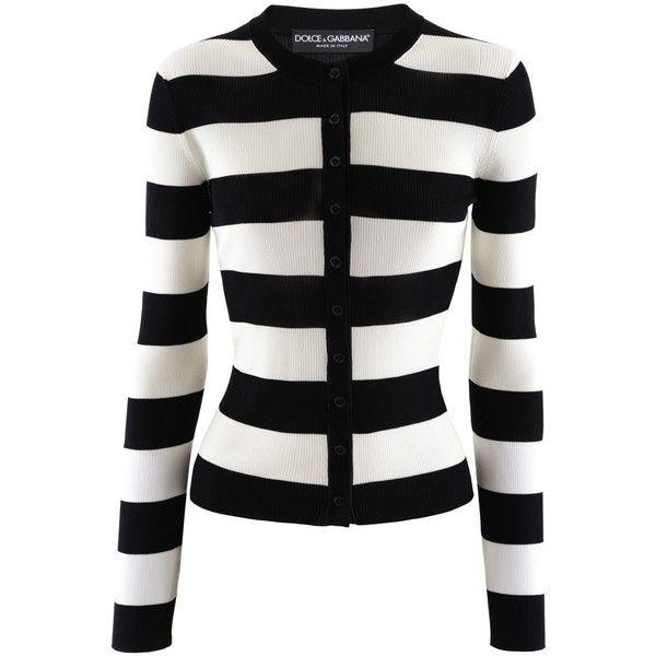 039128d830 Dolce   Gabbana Black White Stripe Cardigan ( 665) ❤ liked on Polyvore