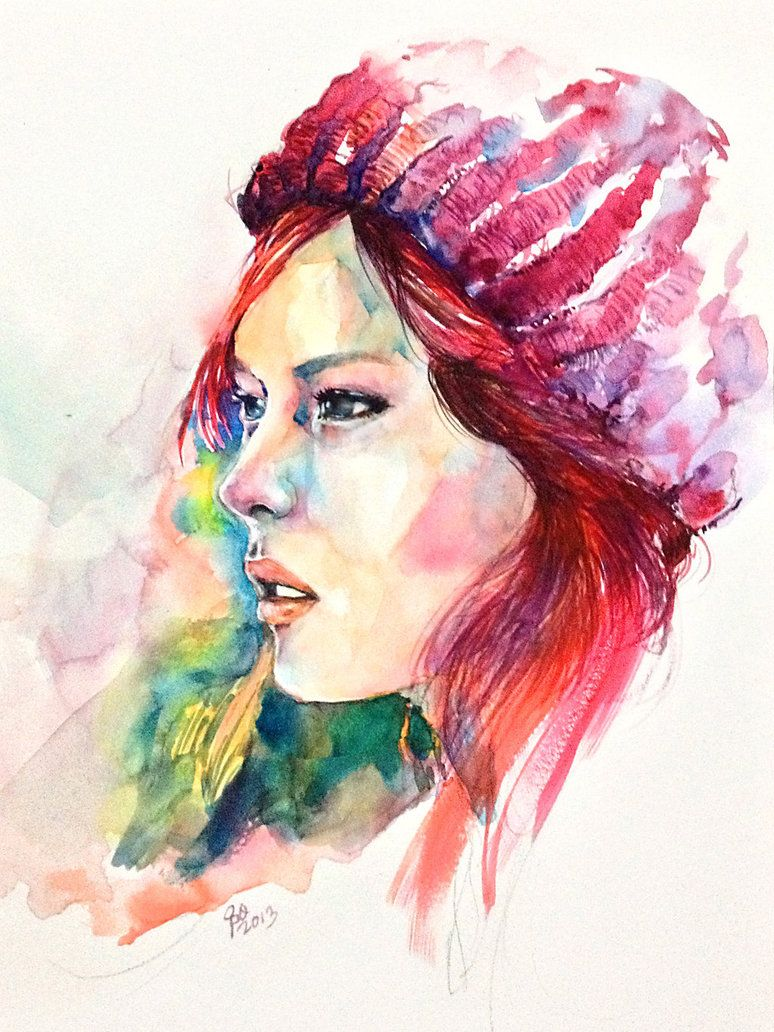 Watercolor Portrait Red Hat Girl By Young920 Watercolor
