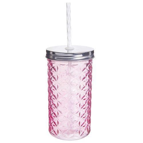 verre avec paille en verre rose diamant | romantique | pinterest