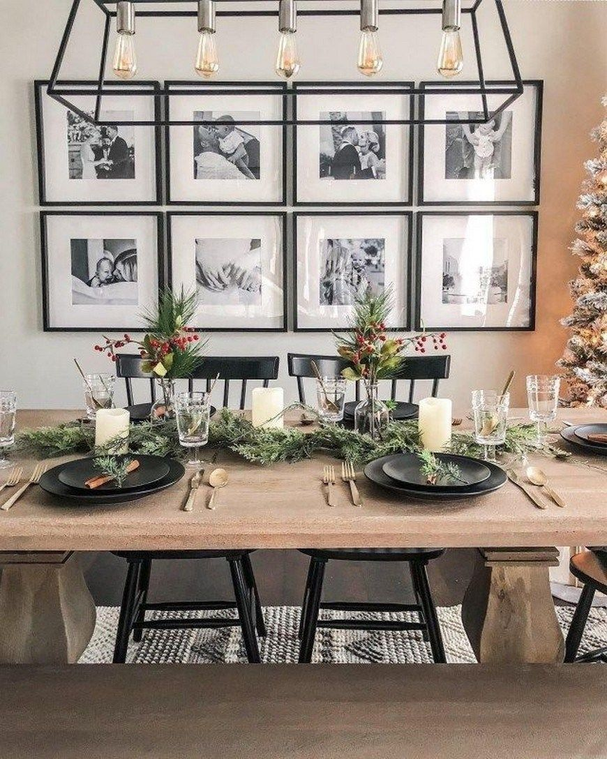 24 Farmhouse Table Centrepiece Inspirations For Your Home Decoration In 2020 Farmhouse Dining Room Set Family Dining Room Decor Dining Room Walls