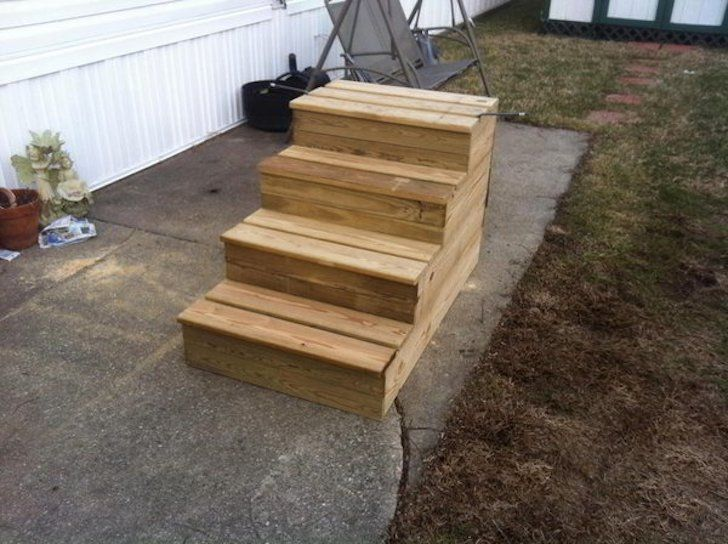 Unique Wooden Portable Steps For Your Travel Trailer Wooden | Wooden Stairs For Mobile Home | Pre Built | Prefabricated | Simple | Wood Camper | Patio