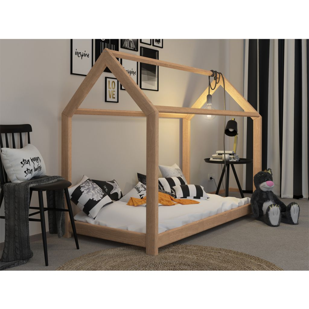 kinderbett kinderhaus kinder bett holz haus schlafen spielbett hausbett 90x200 wohnen. Black Bedroom Furniture Sets. Home Design Ideas