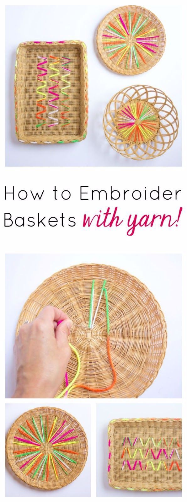 How to Embroider Baskets with Yarn!