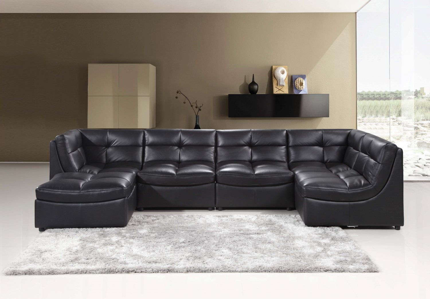 Como Modular Leather Sofa Chaise Sectional Leather Couches