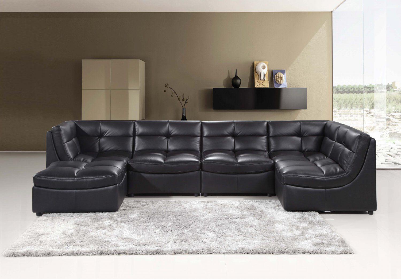 9148 6 Pcs Black Cloud Modular Sectional W Ottoman Leather