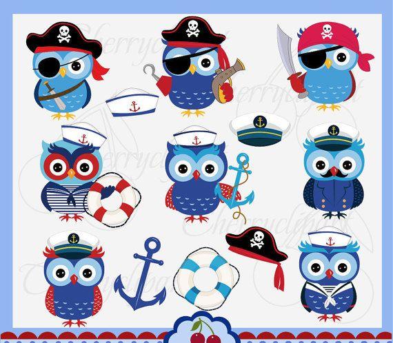Sailor and Pirate owls set,Sailor owls clip art,Pirate ...